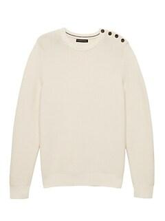 524080549870 SUPIMA® Cotton Button-Shoulder Sweater
