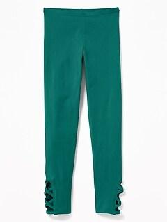 0d30fecac32f6 Full-Length Lattice-Hem Leggings for Girls