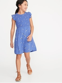 49da74572529 Smocked Floral-Print Fit   Flare Dress for Girls