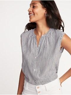 7fde76ea425de1 Sleeveless Button-Front Striped Shirt for Women