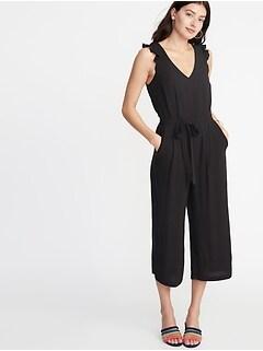 fb7a9422787 Tie-Belt Flutter-Sleeve Jumpsuit for Women
