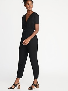 ae95ca271b3 V-Neck Button-Front Jumpsuit for Women