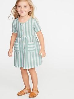 b110d56e45 Striped Waist-Defined Shirt Dress for Toddler Girls