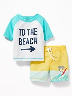 b19c2f561f Graphic Rashguard & Printed Swim Trunks Set for Baby