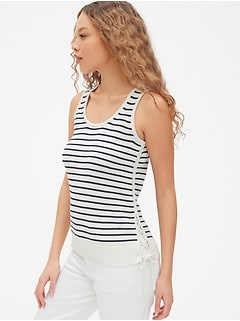 20a2e9b18870e Lace-Up Stripe Sweater Tank Top