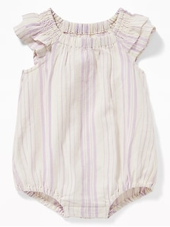 5ae9cb20d671 Striped Tiered Flutter-Sleeve Bubble One-Piece for Baby