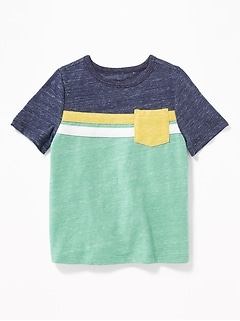 d8897a90856c Color-Blocked Pieced-Stripe Pocket Tee for Toddler Boys