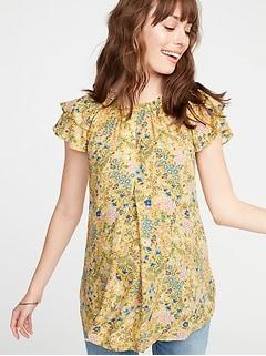 2f5a5cd5a032e1 Maternity Floral-Print Ruffle-Sleeve Blouse