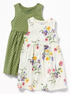 d74abdd78 Floral-Print Jersey Fit & Flare Dress 2-Pack for Toddler Girls