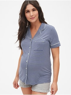 aa7fe9ae99297 Maternity Button-Front Sleep Top in Modal