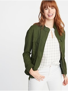 7ef458e46a2 Linen-Blend Utility Jacket for Women