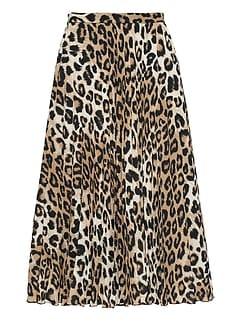 11ae16cbe4 Leopard Print Pleated Midi Skirt