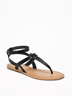 0c5bf76c724 Faux-Leather T-Strap Sandals for Women