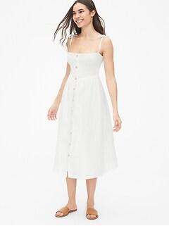 d0eaf68dcaad6 Smocked Tie-Strap Midi Dress in Linen