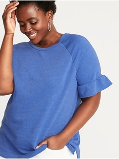 69ab8a81ad0 French Terry Ruffle-Sleeve Plus-Size Sweatshirt
