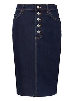 7537da23a70 Button-Fly Denim Skirt