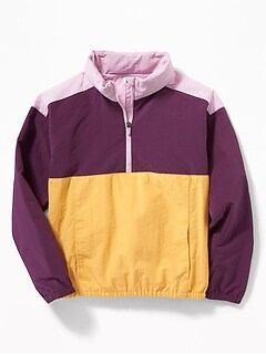6a29f16a2 Color-Blocked Packable-Hood 1/2-Zip Anorak for Girls