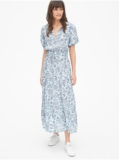 72e2242a7db5 Print Split-Neck Tiered Maxi Dress