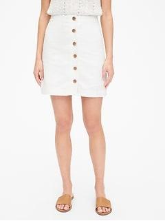 0aa827f2742 Button-Front Mini Skirt in Linen-Cotton