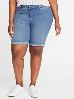 7e7391ad6ebc6b Mid-Rise Secret-Slim Pockets Plus-Size Denim Bermudas - 9-inch