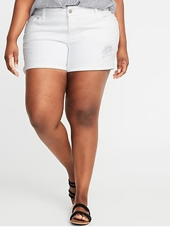 93454ca6843 Mid-Rise Distressed Boyfriend Plus-Size Denim Shorts - 5-inch inseam