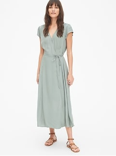 726355e197c Short Sleeve Midi Wrap Dress