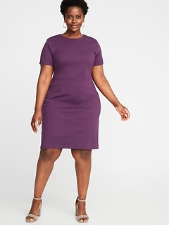 9a9295cd868 Ponte-Knit Plus-Size Sheath Dress
