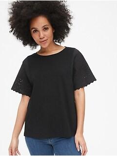 8098e7924a88c1 Eyelet Embroidered Sleeve Crewneck T-Shirt