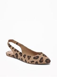 c35f328b1ab Leopard-Print Slingback Flats for Women