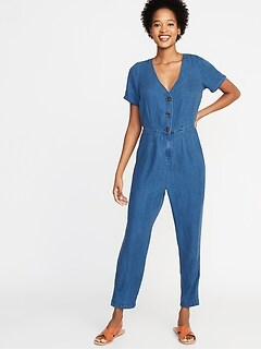 8eb75b35bae Chambray V-Neck Button-Front Jumpsuit for Women