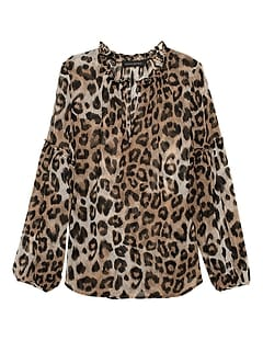 eb239a770dfe Petite Sheer Leopard Print Peasant Top