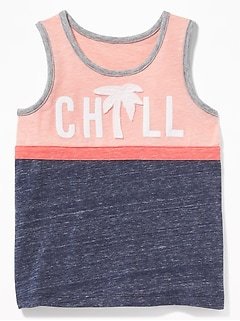 Chill Graphic Color Blocked Tank For Toddler Boys