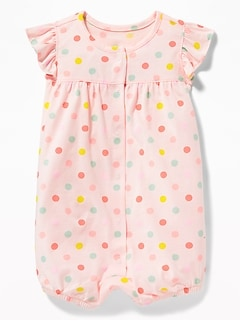 8c253602c274 Printed Ruffle-Sleeve Snap-Front One-Piece for Baby