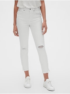 ac580ee9db High Rise True Skinny Ankle Jeans with Distressed Detail