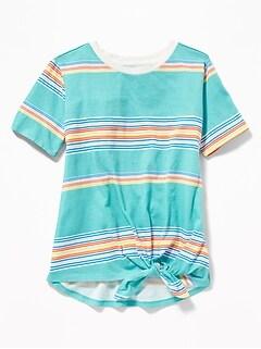 fe02ce7dae Striped Slub-Knit Tie-Hem Tee for Girls