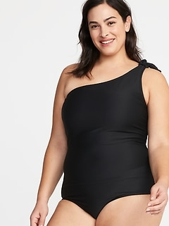 9af389f2d63cb Textured Knotted One-Shoulder Plus-Size Secret-Slim Swimsuit