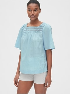 87daa820ba31f2 Eyelet Embroidered Square-Neck Blouse in Dobby Stripe