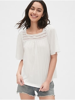 bdb49a1f8b07f6 Eyelet Embroidered Square-Neck Blouse in Dobby Stripe