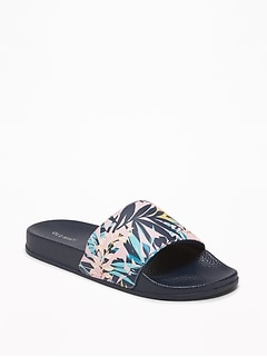 a6735bed3 Faux-Leather Pool Slide Sandals for Women