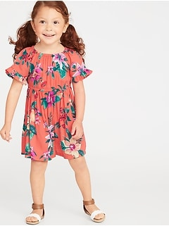 3000279f09cf Floral Ruffle-Trim Crepe Dress for Toddler Girls