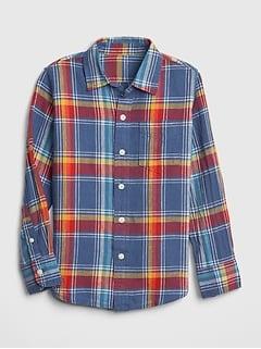 342b5fb1aef3fb Plaid Linen-Cotton Long Sleeve Shirt