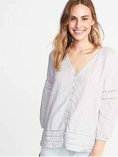 4e49cbcc Crochet-Lace Trim Linen-Blend Button-Front Blouse for Women
