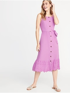 dce35286f6f1 Square-Neck Button-Front Midi Dress for Women