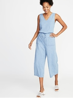 f40ee0492cab Sleeveless V-Neck Utility Jumpsuit for Women