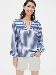 c3fbaac8f7 the mariner collection. Embroidered Stripe Split-Neck Blouse