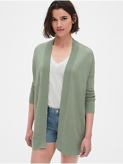 6396b8e720 Textured Longline Open-Front Cardigan Sweater