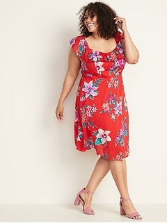 71ef2f1ae2fd Ruffled Fit & Flare Plus-Size Cami Dress