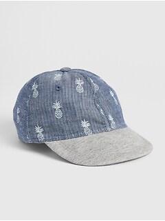 7806439913abe Baby Pineapple Print Chambray Baseball Hat
