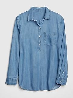 51511ec191a62 Boyfriend Popover Shirt in TENCEL  153