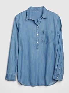 fd4be1cb98506 Boyfriend Popover Shirt in TENCEL  153